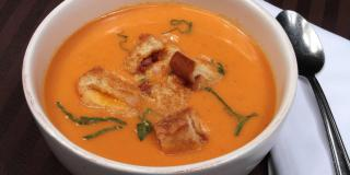 Cream of Tomato Soup With Bacon-Grilled Cheese Croutons