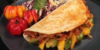 Avocado-Mango Pulled Pork Quesadilla with Creamy Cilantro-Lime Coleslaw