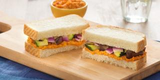Roasted Red Pepper Hummus and Grilled Veggie Sandwich